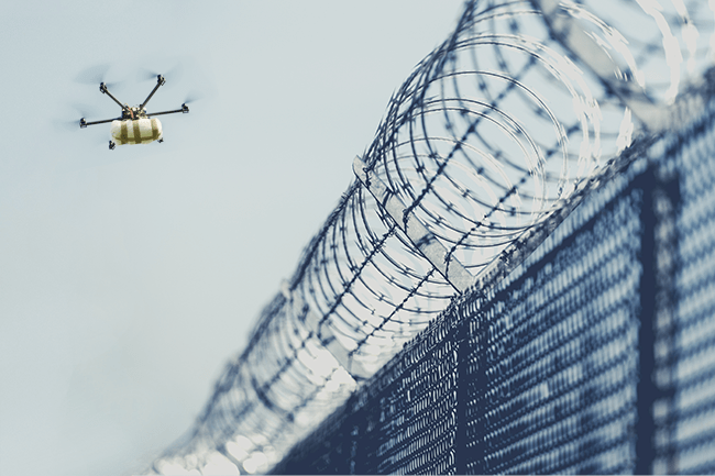 Correctional facility drone detection